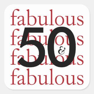 50 and Fabulous Typography 50th Birthday Milestone Square Sticker