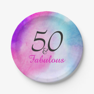 50 and Fabulous | Typography 50th birthday Paper Plate