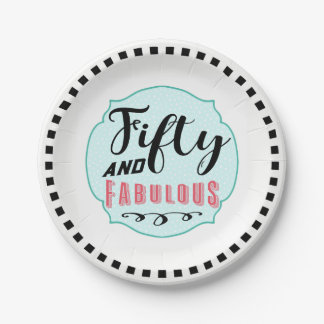 50 and Fabulous Vintage Elegant Party Paper Plate