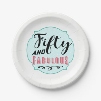 50 and Fabulous Vintage Party Paper Plate