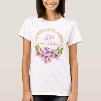 50 and Fabulous Watercolor Magnolia Birthday T-Shirt