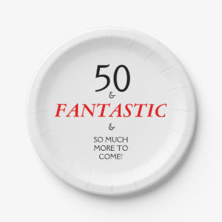 50 and Fantastic Birthday Party Paper Plates