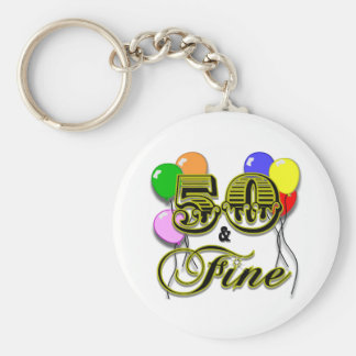 50 and Fine Birthday Gifts and Apparel Key Chains