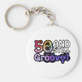 50 And Still Groovy Basic Round Button Keychain