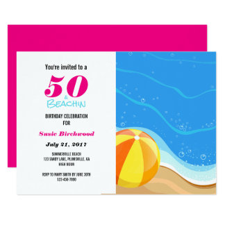 50 & Beachin 50th Birthday Invitation