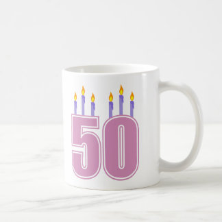 50 Birthday Candles (Pink / Purple) Coffee Mug