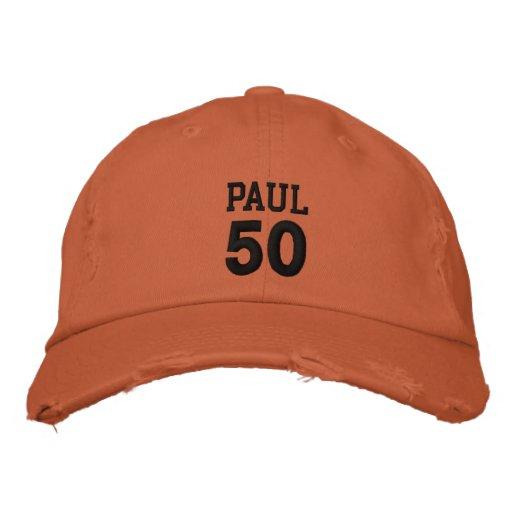 50 Birthday Custom Name BLACK Embroidery V01C5 Embroidered Hat
