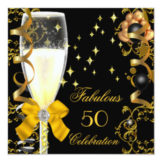 50 Birthday Party Fabulous Champagne Gold Black Card