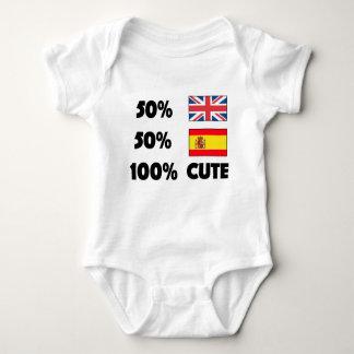 50% British 50% Spanish 100% Cute Baby UK Spain Baby Bodysuit