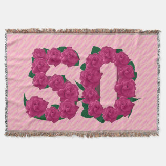 50 cute pink rose flowers 50th birthday blanket throw blanket