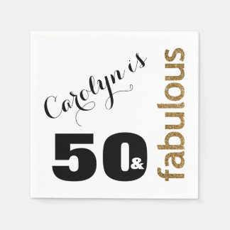 """50 & Fabulous"" 3 Gold Glitter 50th Birthday Disposable Napkin"