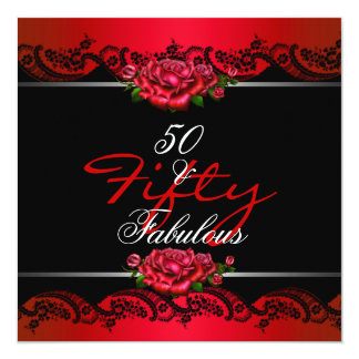 """50 & Fabulous 50th Birthday Party Red Roses 5.25"""" Square Invitation Card"""