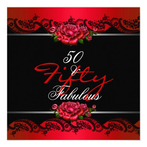 50 & Fabulous 50th Birthday Party Red Roses Announcements