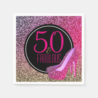 50 & Fabulous | 50th Birthday Pink High Heels Disposable Napkins