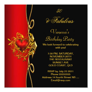 """50 & Fabulous 50th Birthday Red Gold Hearts 5.25"""" Square Invitation Card"""