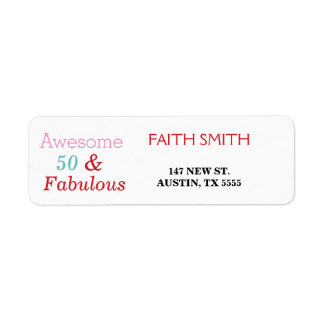 50 & Fabulous 50th Birthday Return Address Label