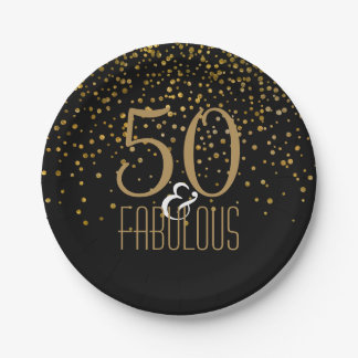 50 & Fabulous Birthday Party | Elegant 50th Gold Paper Plate