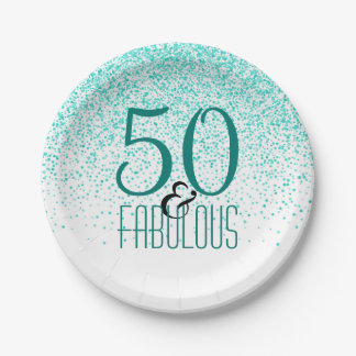 50 & Fabulous Birthday Party | Elegant 50th Teal Paper Plate