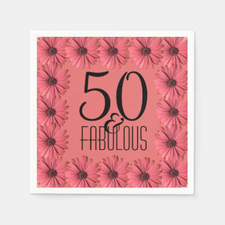 50 & Fabulous Birthday Party | Floral Pink Daisy Disposable Napkin
