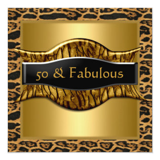 50 & Fabulous Birthday Party Gold Black Leopard Card