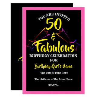 50 & Fabulous Birthday Party Invitation -