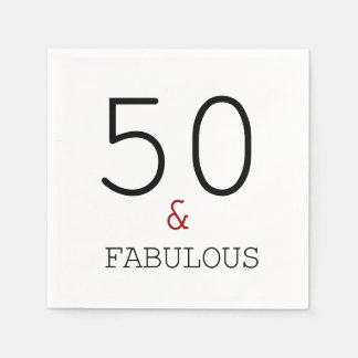 50 & Fabulous. Birthday Party Paper Napkins