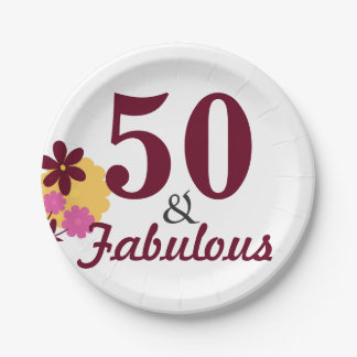 50 & Fabulous Birthday Party Paper Napkins 7 Inch Paper Plate