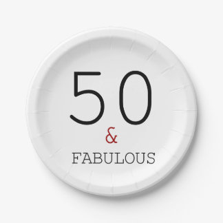 50 & Fabulous. Birthday Party Paper Plate