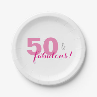 50 & Fabulous Birthday Party Paper Plates 7 Inch Paper Plate