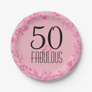 50 & Fabulous Birthday Party | Pink 50th Birthday Paper Plate