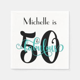 50 & Fabulous Black and Aqua Typography Birthday Disposable Napkin