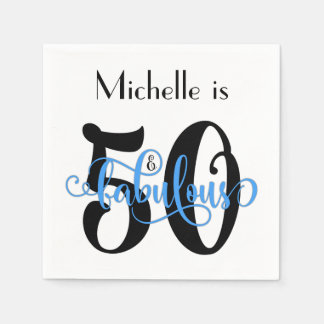 50 & Fabulous Black and Blue Typography Birthday Paper Napkin