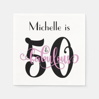 50 & Fabulous Black and Pink Typography Birthday Paper Napkins