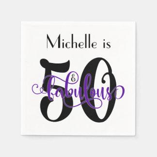 50 & Fabulous Black and Purple Typography Birthday Paper Napkins