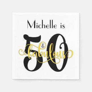 50 & Fabulous Black and Yellow Typography Birthday Paper Napkins