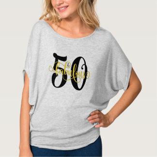 50 & Fabulous Black and Yellow Typography Birthday T-Shirt