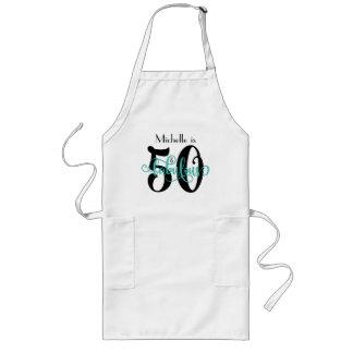 50 & Fabulous Black & Aqua Typography Birthday Long Apron