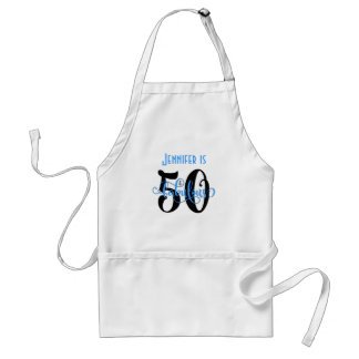 50 & Fabulous Black & Blue 2 Typography Birthday Standard Apron