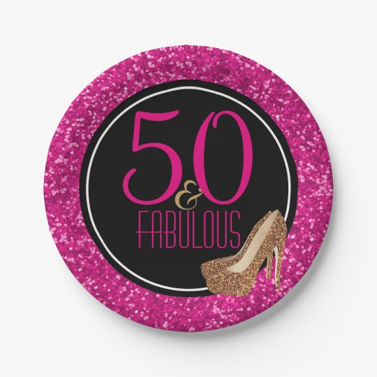 50 & Fabulous | Black Pink 50th Birthday Party 7 Inch Paper Plate
