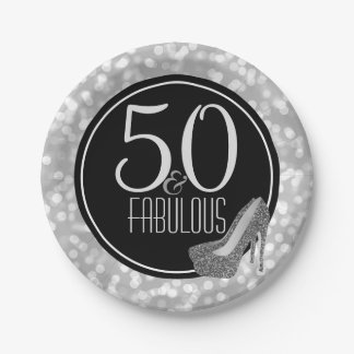 50 & Fabulous | Black Silver 50th Birthday Party Paper Plate