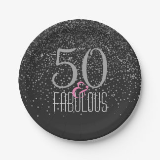 50 & Fabulous Black Silver | Elegant 50th Birthday 7 Inch Paper Plate