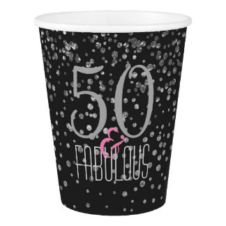 50 & Fabulous Black Silver | Elegant 50th Birthday Paper Cup