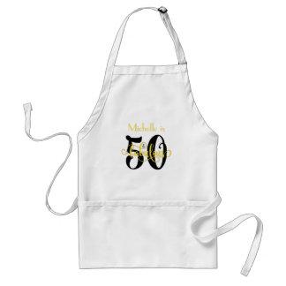 50 & Fabulous Black & Yellow 2 Typography Birthday Standard Apron