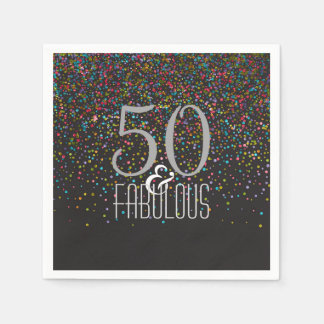 50 & Fabulous Confetti Dots Elegant 50th Birthday Paper Napkins