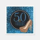 50 & Fabulous | Elegant 50th Birthday High Heels Paper Napkin