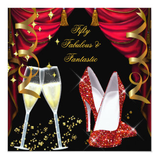 """50 Fabulous & Fantastic Red Champagne Party 5.25"""" Square Invitation Card"""