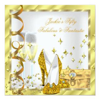 "50 & Fabulous Fantastic White Yellow Gold Birthday 5.25"" Square Invitation Card"