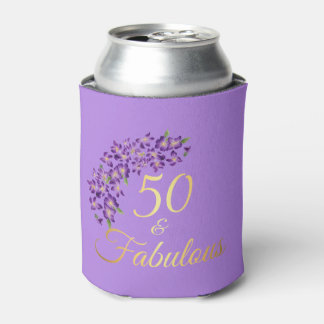 50 & Fabulous Faux Gold and Violet Flowers Can Cooler