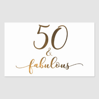 """50 & Fabulous"" Faux Gold, v4 Birthday Cheer Sticker"