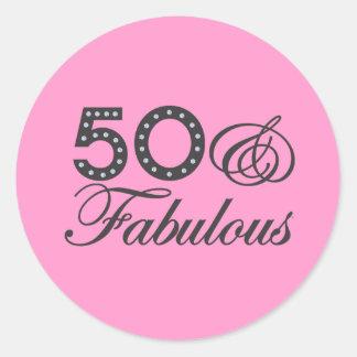 50 & Fabulous Gift Classic Round Sticker